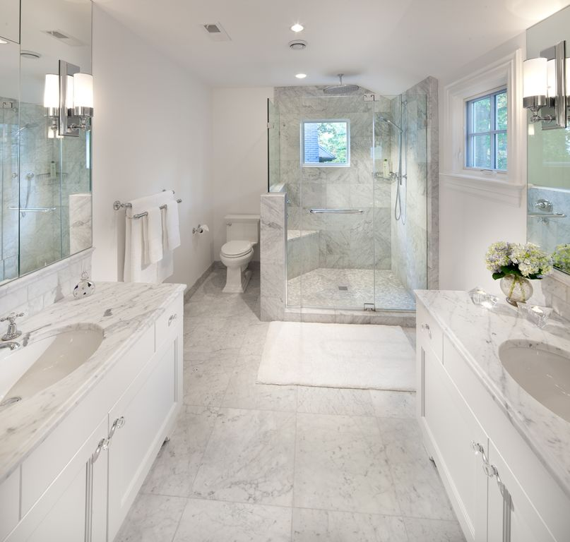 Traditional Master Bathroom with can lights, Undermount sink, stone tile floors, Flat panel cabinets, Flush, full backsplash