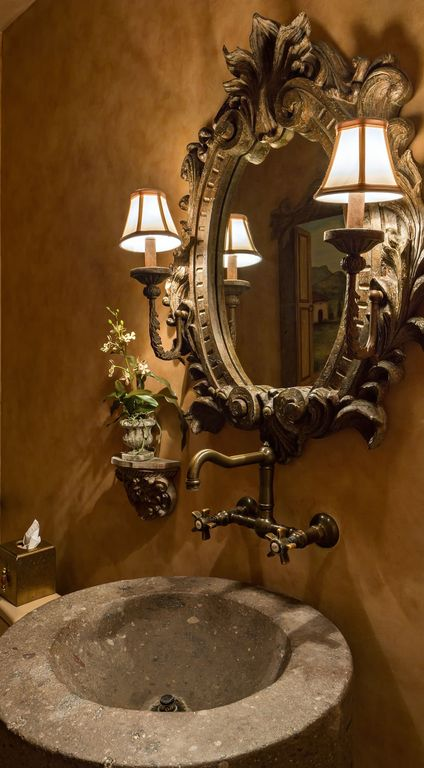 Eclectic Powder Room with Powder room, Faux finish paint, Undermount sink, Wall sconce, High ceiling, Bridge faucet