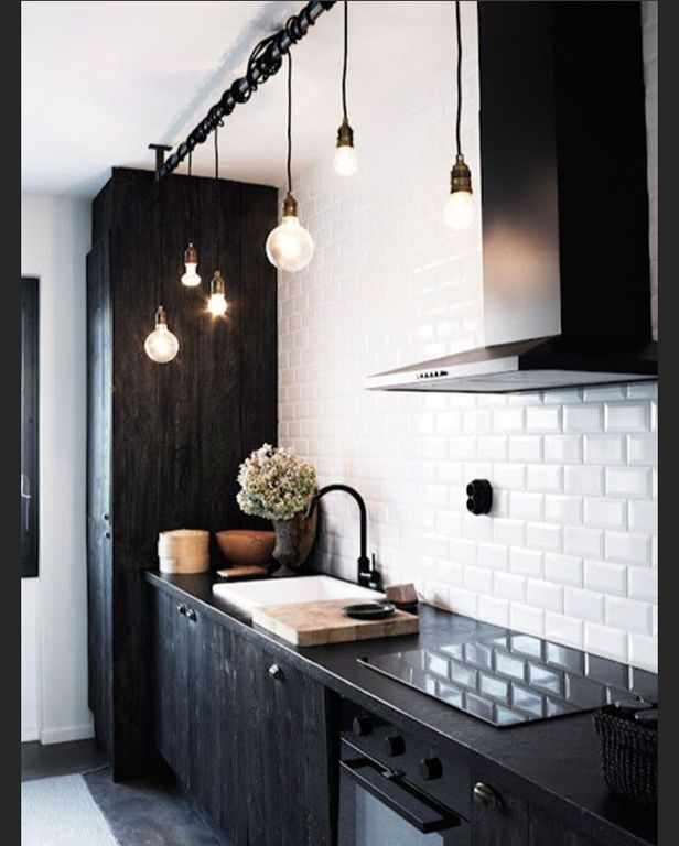 Contemporary Kitchen with One-wall, Paint 2, full backsplash, slate floors, Paint, Weathered black stained cabinets, Flush