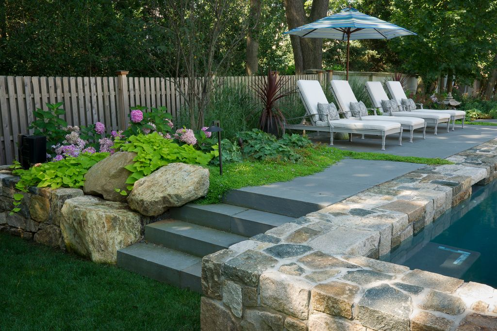 Traditional Landscape/Yard with exterior stone floors, Outdoor lounge furniture, Fence, Pathway, Raised beds