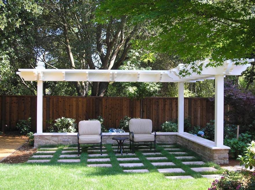 Traditional Patio with Trellis, Fence, exterior stone floors