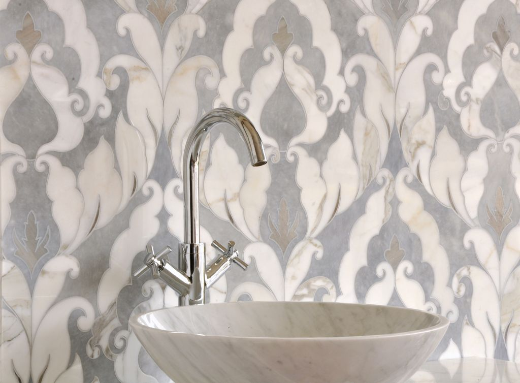 Traditional Powder Room with Ann SacksAnticosti Rochefort Specialty Tile, Virtu Thia Vessel Sink