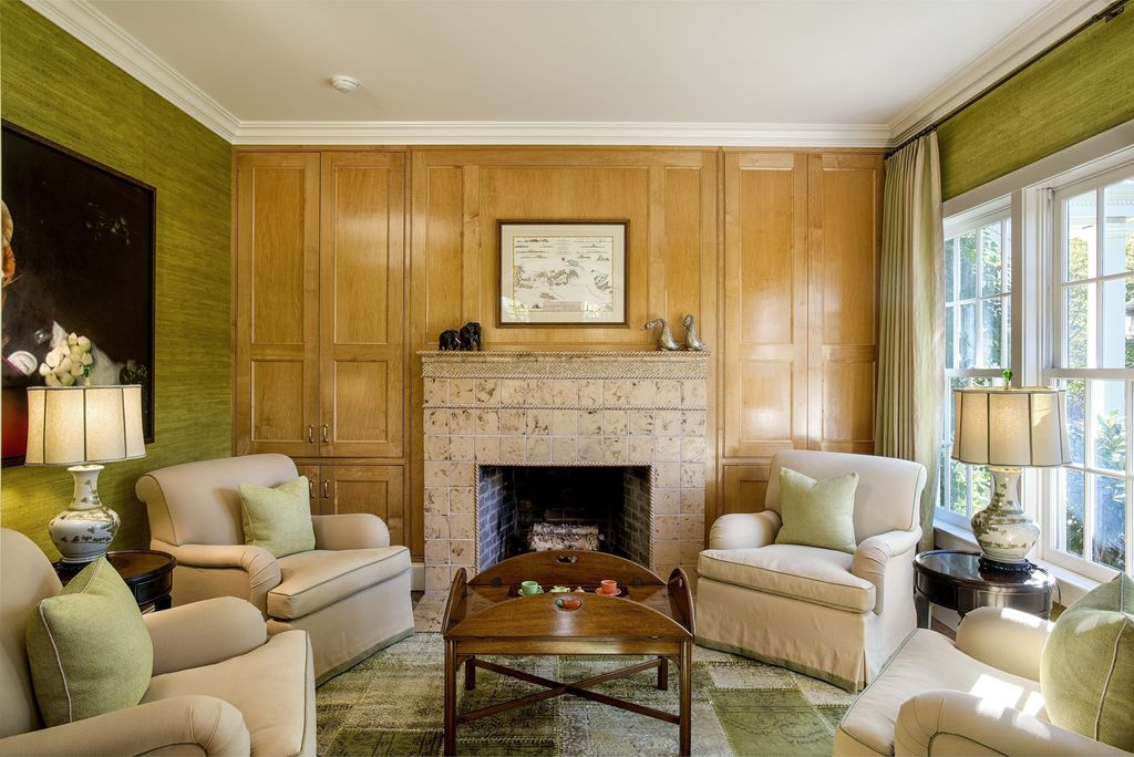 Traditional Living Room with Carpet, Fireplace, stone fireplace, can lights, Standard height, double-hung window