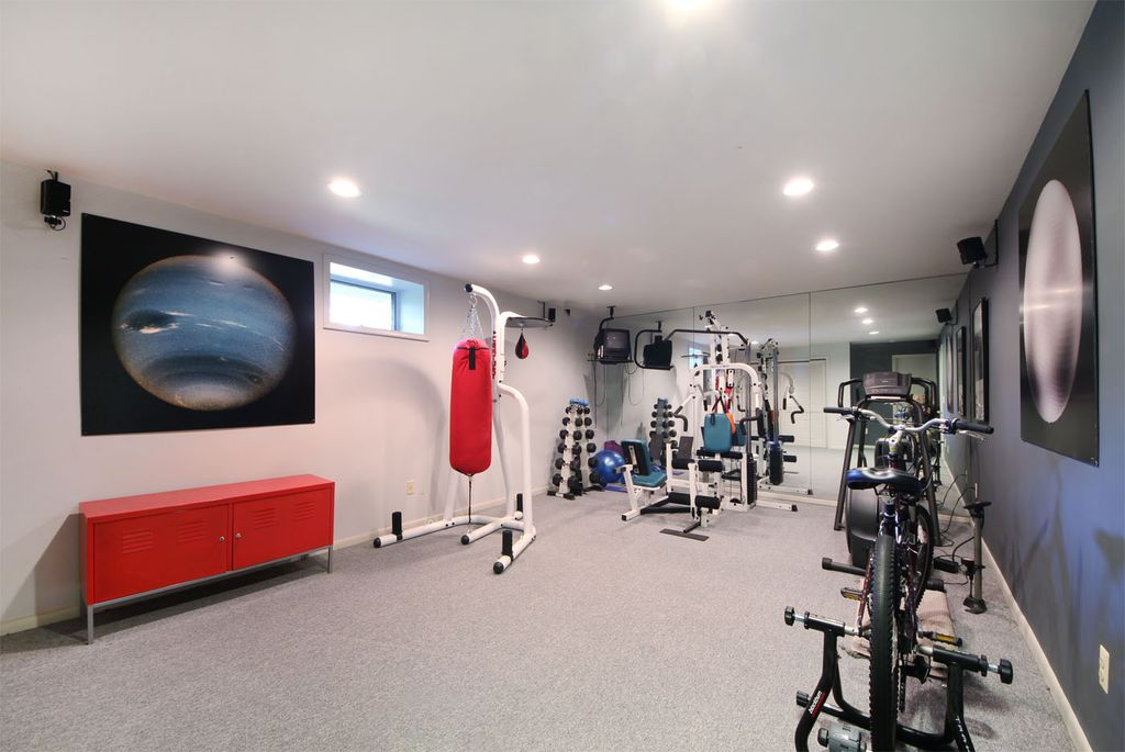 Modern Home Gym With Carpet By Sue Adler Team Zillow Digs