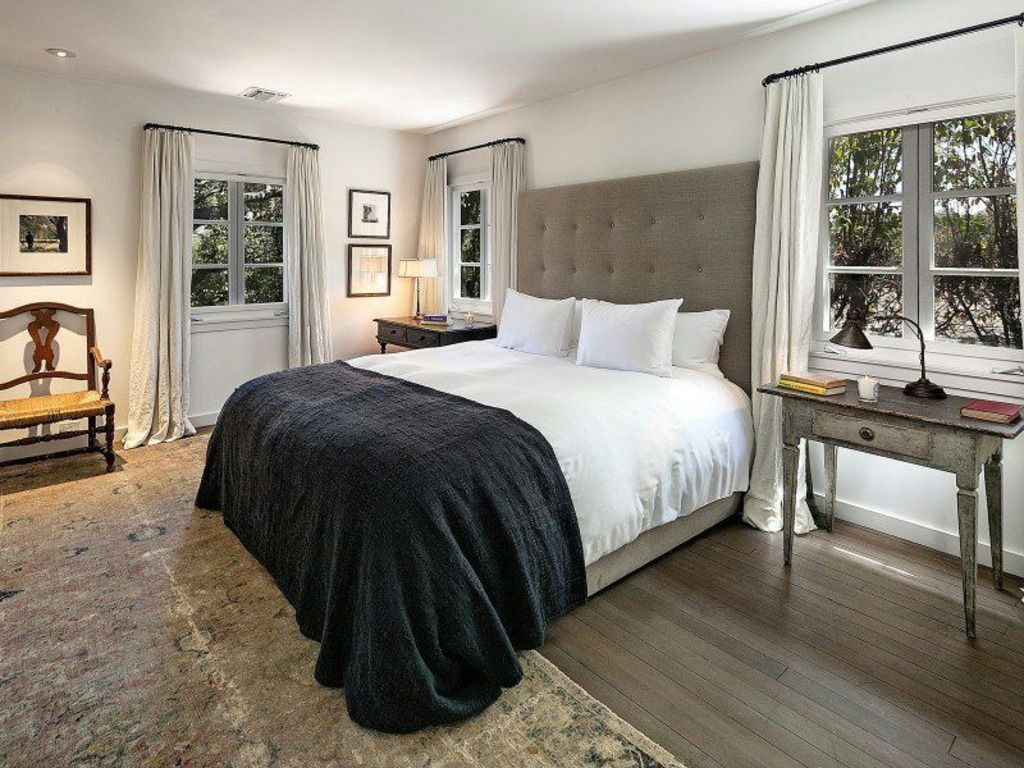 "Traditional Master Bedroom with Grid Tufted Headboard - 56"" King, Linen Weave, Natural, Paint 1, Hardwood floors, can lights"