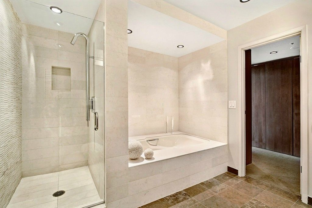 Contemporary Master Bathroom with Pental Phenomenon Porcelain Tile - Biano, Pental Seastone Porcelain Tile - White, Shower