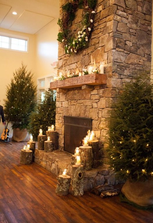 Rustic Living Room With Christmas Decor Fireplace Mantel Shelf