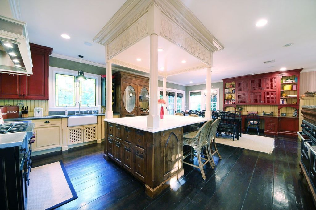 Eclectic Kitchen with Standard height, Framed Partial Panel, Glass panel door, Paint 2, Flat panel cabinets, Paint 3, Paint