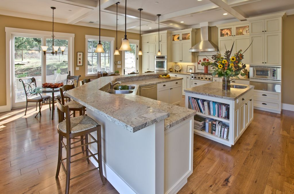Traditional Kitchen with Complex granite counters, Maxim Lighting - Infinity 1-Light Mini Pendant, Glass panel, Subway Tile