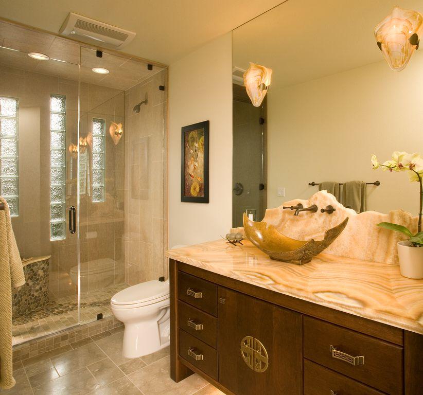 Asian 3/4 Bathroom with Standard height, picture window, Shower, full backsplash, frameless showerdoor, Flush, Vessel sink