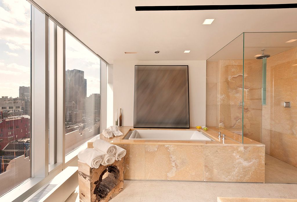 Contemporary Master Bathroom with picture window, Master bathroom, Ms international amour onyx slab, Paint, Standard height