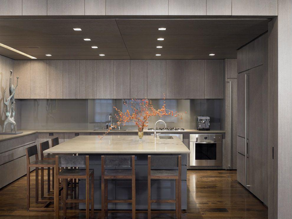 Contemporary Kitchen with Breakfast bar, Undermount sink, Standard height, full backsplash, Kitchen island, wall oven, Flush