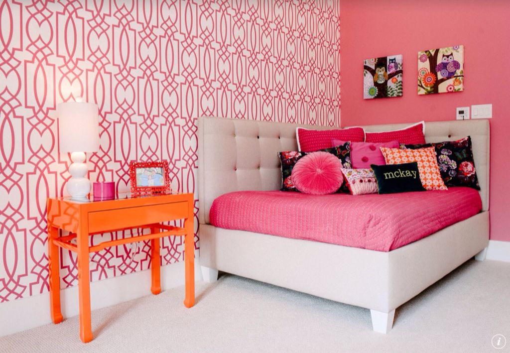 Eclectic Kids Bedroom with Carpet, Lacquered side table, Tufted corner daybed, interior wallpaper, Table lamp, Paint
