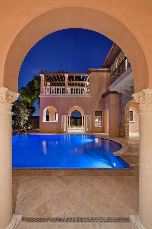 Mediterranean Swimming Pool with Paint, Pathway, Other Pool Type, Fence, Deck Railing, exterior tile floors, specialty window