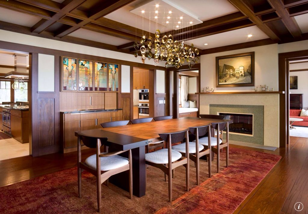 Craftsman Dining Room with insert fireplace, Hardwood floors, Box ceiling, Chandelier, Fireplace, Standard height, can lights