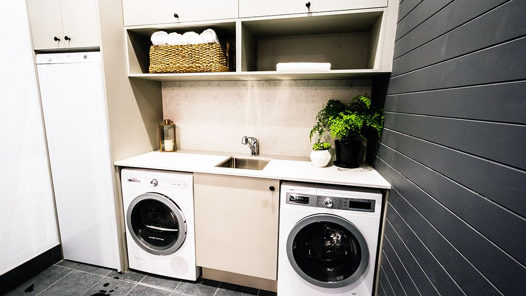 Laundry Room Undermount Sinks : Contemporary Laundry Room with Undermount sink, soapstone tile floors ...