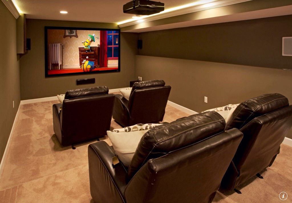 Traditional Home Theater with Carpet, Crown molding, Catnapper top gun theater seating