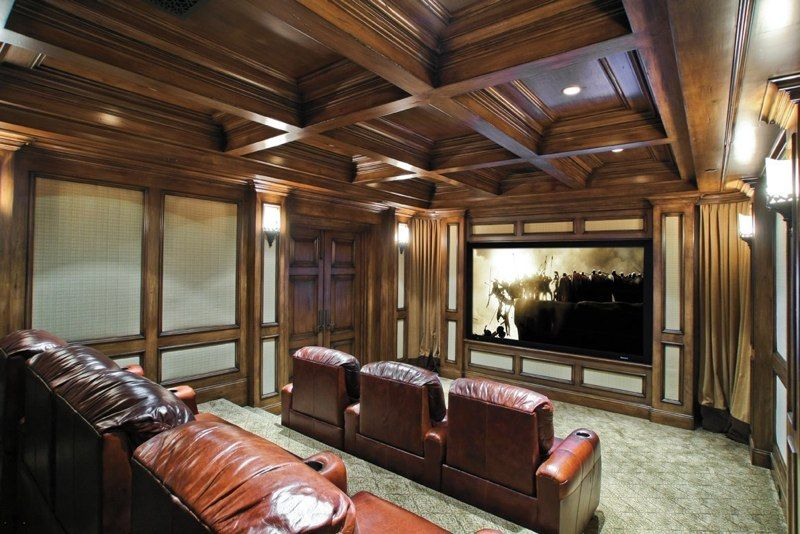 Traditional Home Theater with Carpet, six panel door, Standard height, Box ceiling, can lights, Casement, Wall sconce