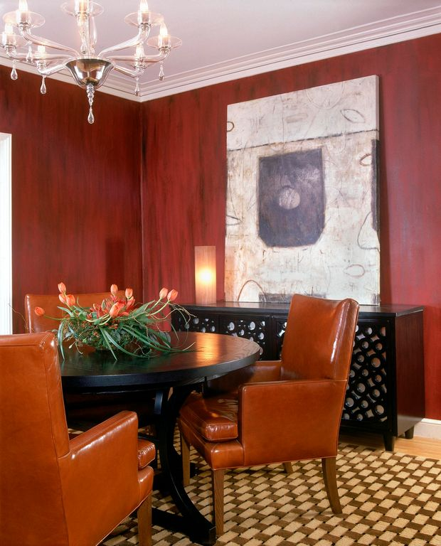 Traditional Dining Room with Hardwood floors, Crown molding, Standard height, Chandelier
