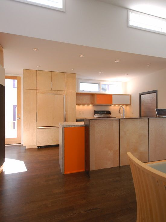 Contemporary Kitchen with Emmerson Rustic Saddle Oak 8 mm Thick x 6-1/8 in. Width x 54-11/32 in. Length Laminate Flooring