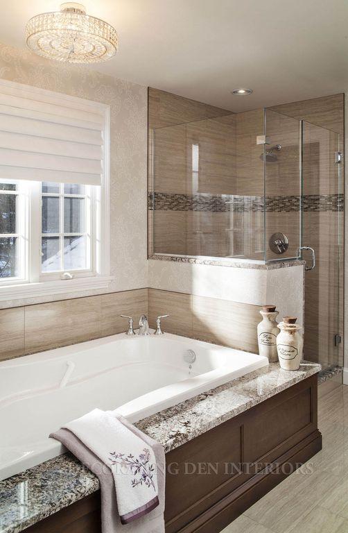Contemporary Master Bathroom with Wall Tiles, frameless showerdoor, interior wallpaper, Bathtub, Master bathroom, flush light