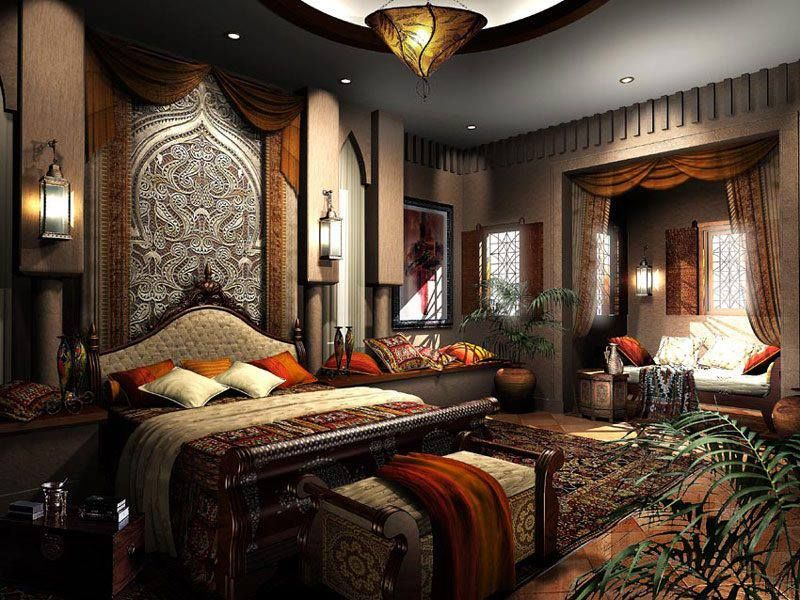 Eclectic Master Bedroom with specialty window, flush light, Wall sconce, terracotta tile floors, can lights, Standard height