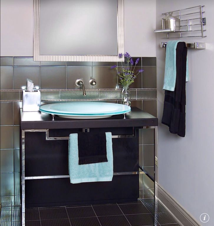 Art Deco Powder Room with Large Ceramic Tile, Standard height, Vessel sink, Soapstone counters, Powder room, Paint 1