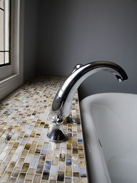 Contemporary Master Bathroom with Moen Voss Two Handle High Arc Roman Tub Faucet, Daltile Glass Horizons, Paint 1