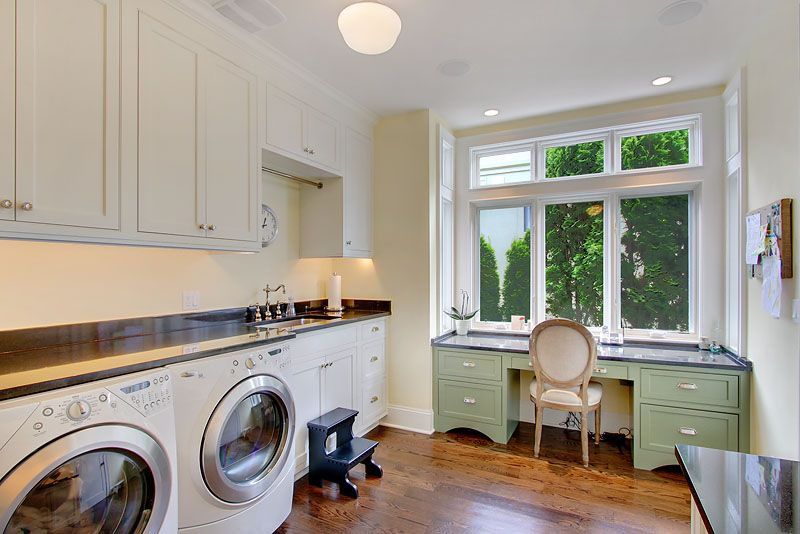 Traditional Laundry Room with laundry sink, flush light, Standard height, Hardwood floors, Hanging Bar, can lights, Casement