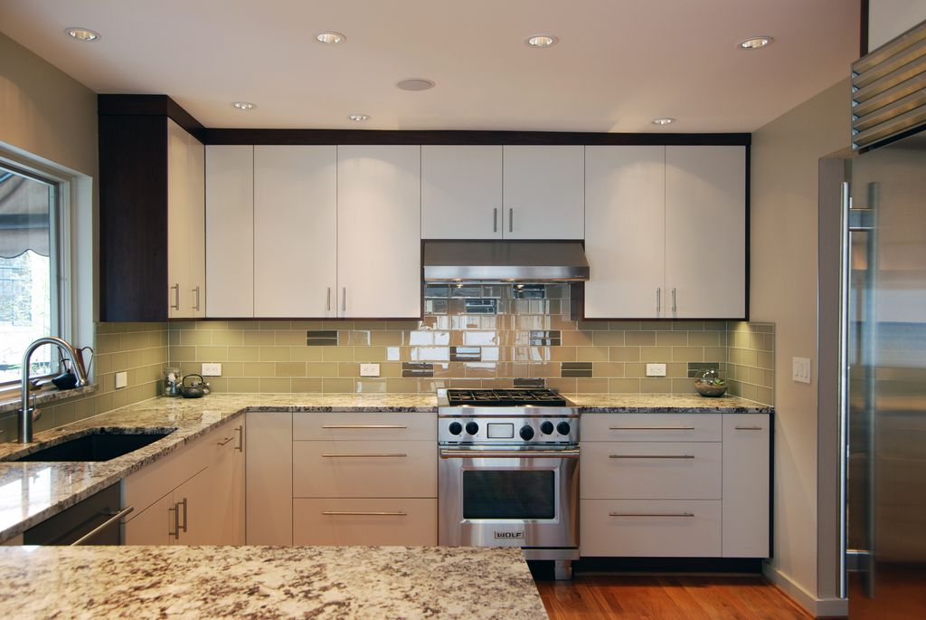 Modern kitchen with slab cabinet doors by jason ball for Square shaped kitchen designs