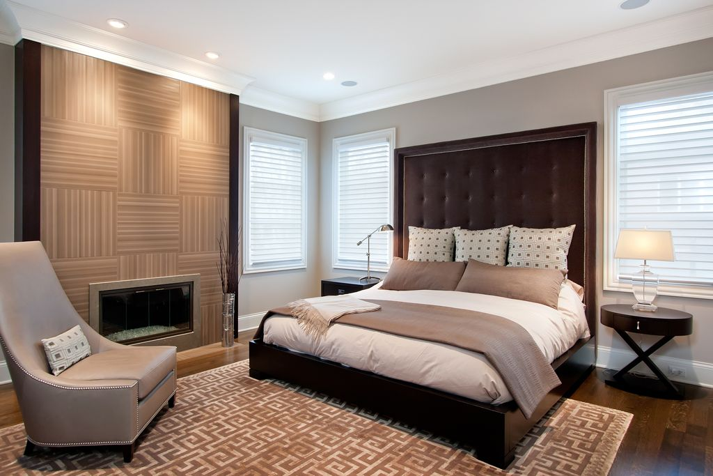 contemporary master bedroom with crown molding by amy may