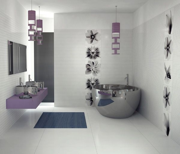 Contemporary Master Bathroom with Concrete tile , Paint 1, Decolav - brushed stainless simply stainless steel vessel sink