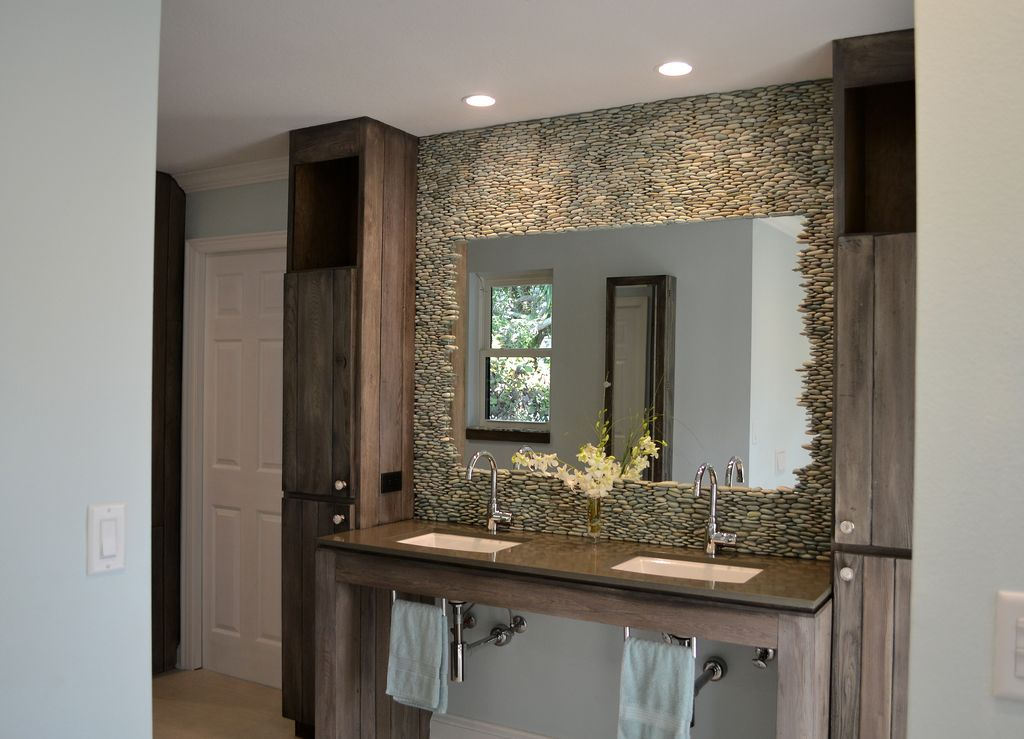 Rustic Full Bathroom with double-hung window, Signature Hardware Casimir Single-Hole Faucet, stone tile floors, can lights