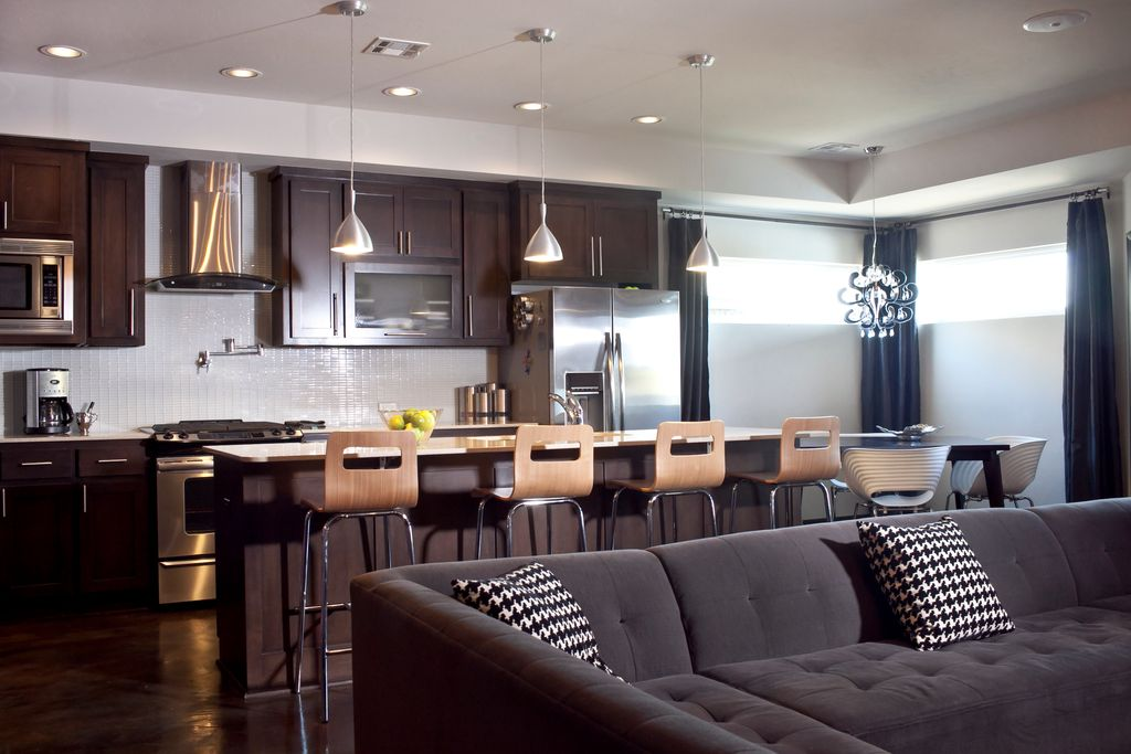 Modern Kitchen with Framed Partial Panel, built-in microwave, Kitchen island, Baxton Studio Greta Modern Bar Stools, One-wall