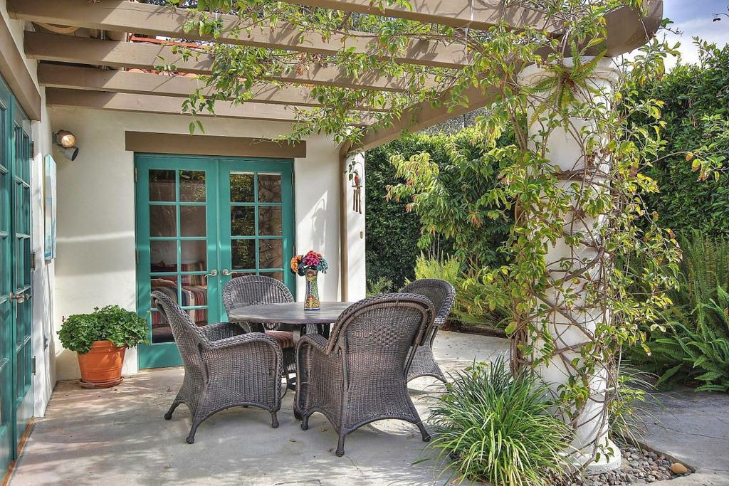 Traditional Patio with Pathway, Trellis, exterior stone floors, French doors