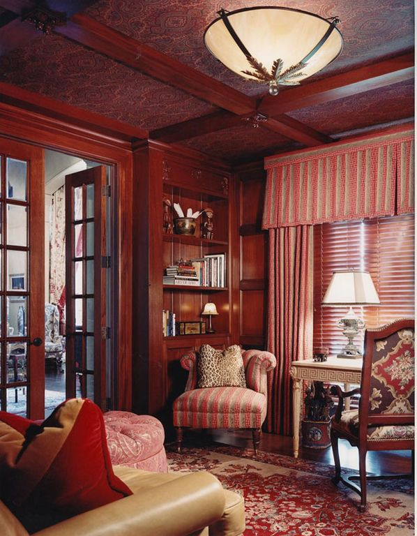 Traditional Home Office with Crown molding, Standard height, Built-in bookshelf, French doors, Exposed beam, flush light