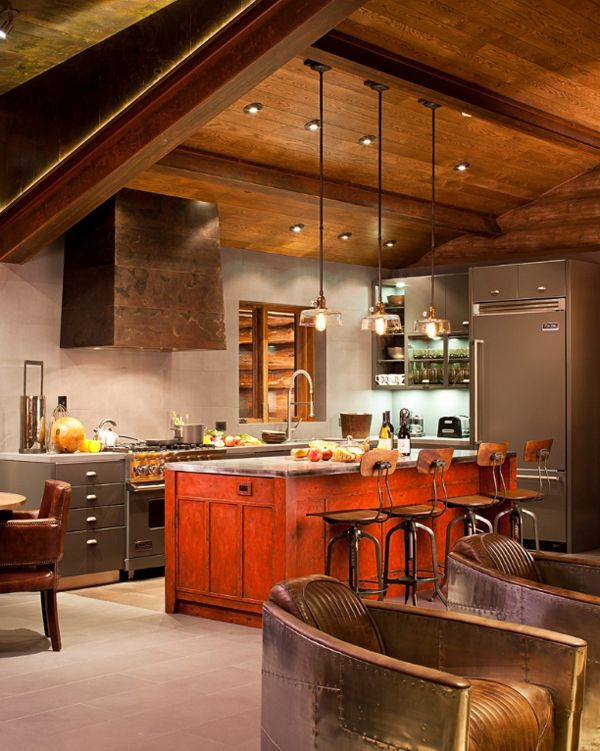 Craftsman Kitchen with gas range, High ceiling, L-shaped, Multiple Refrigerators, Stainless steel cabinet fronts, Paint 1