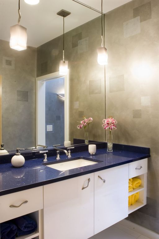 Contemporary Full Bathroom with European Cabinets, Pendant light, Quartz, Standard height, partial backsplash, Full Bath