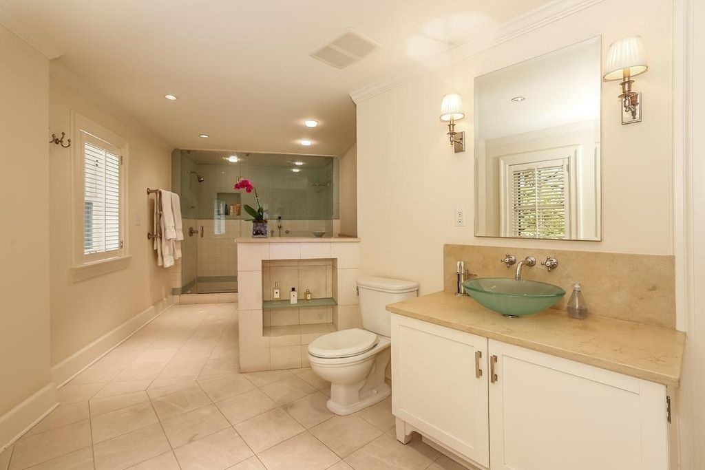 Modern Master Bathroom with can lights, Vessel sink, Framed Partial Panel, Limestone, Casement, Standard height, Shower