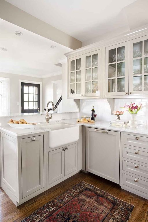 "Traditional Kitchen with Hafele 131.14.271 polished chrome / white 4"" width cabinet square knob, Subway Tile, Inset cabinets"