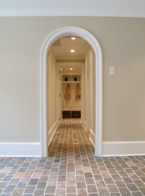 Traditional Mud Room with Standard height, Crown molding, Paint, slate tile floors, can lights, Arched doorway