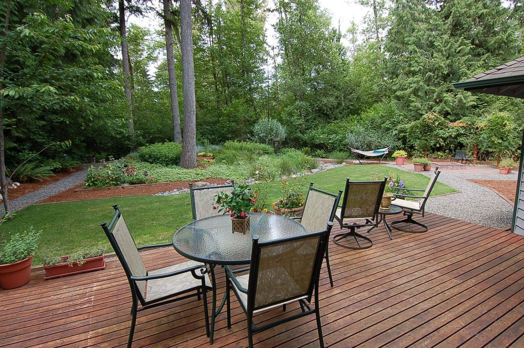 Craftsman Deck with Trellis, Fire pit, Raised beds, Pathway