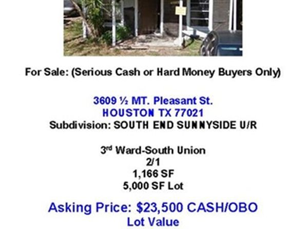 2 bed 1 bath Single Family at 3609 Mount Pleasant St Houston, TX, 77021 is for sale at 21k - google static map